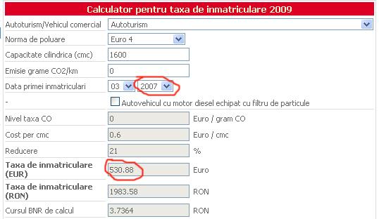 Taxa inmatriculare, masina 2007
